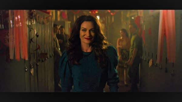 Mary Waldwell/ Lilith (Michelle Gomez) after catching Nick and Sabrina run from the library.