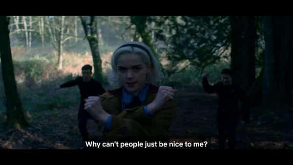 Mandrake Sabrina before she kills Father Blackwood's assassins.