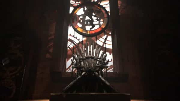 A part of the new intro featuring the Iron Throne.