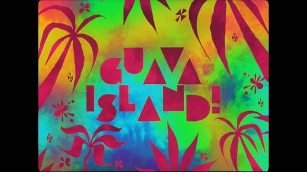 Guava Island (2019) - Title Card featuring a colorful background.