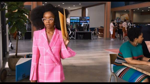 Young Jordan (Marsai Martin) trying to hide from her employees.