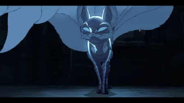 Yan (Elaine Tan) as a robot fox.