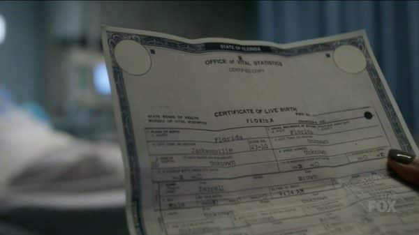 Terrell Brown's birth certificate.
