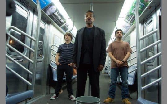 Caleb (Gerard Canonico), Lloyd (Giancarlo Esposito), Ramon (Omar Chaparro) turning the other way as Alice pees.
