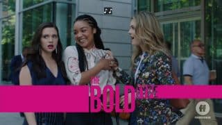 The Bold Type Season 3, Episode 1 The New Normal [Season Premiere] - Title Card featuring Jane realizing she talked down to her new boss.