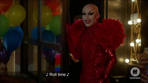 Sasha Velour showing up to Kat's Queer Prom.