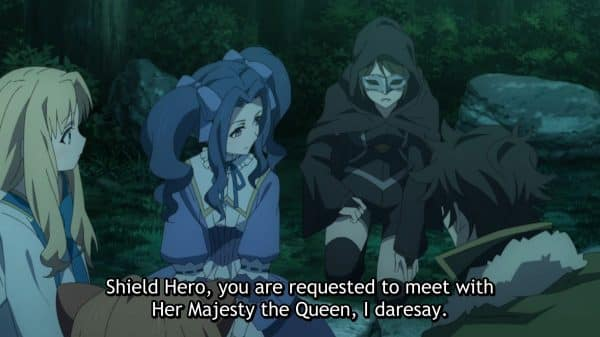 Shadow noting the queen wants to meet Naofumi.