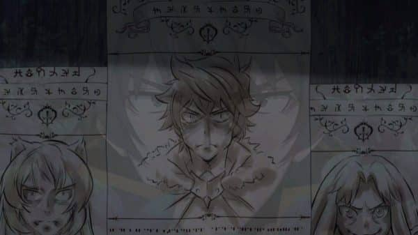A wanted poster featuring Naofumi, Raphtalia, and Filo
