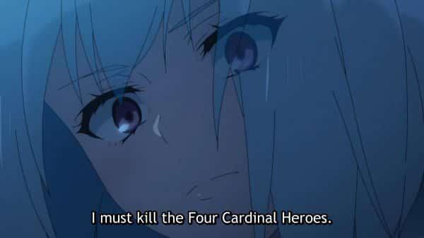 Fitoria saying she will kill the Cardinal Heroes to Naofumi.