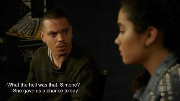 Angel questioning Simone on antagonizing racists.