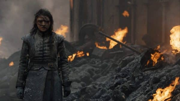 A full shot of Arya after the Battle at King's Landing.