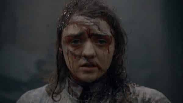 Arya after the battle at King's Landing - with a focus on her face.