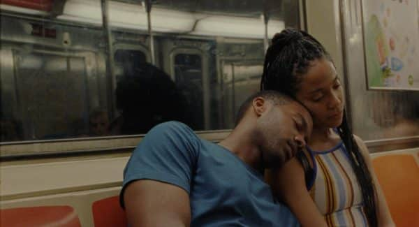 Ayanna (Zora Howard) and Isiah (Joshua Boone) on the subway.