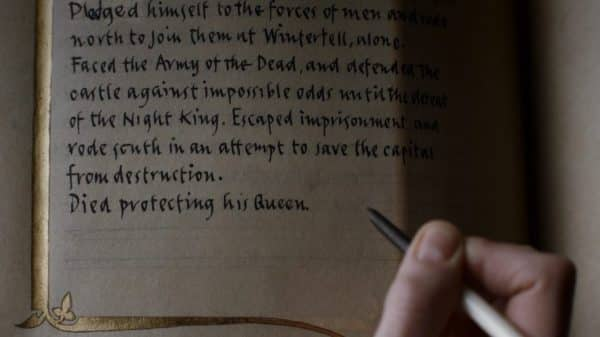 Brienne finishing Jamie's story in the book of the Kingsguard.