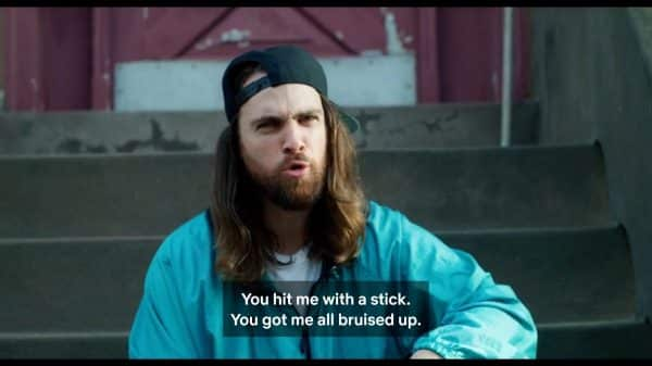Charlie (Sam Eliad) talking about Malcolm hitting him with a stick.