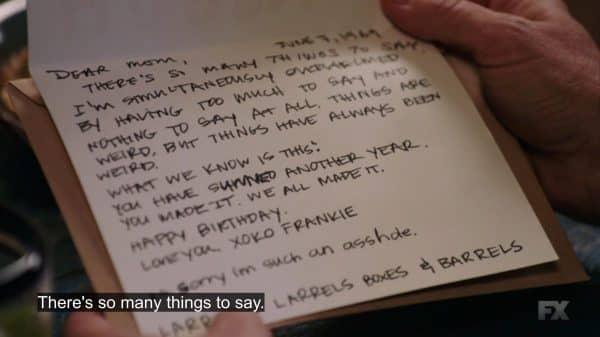 Frankie's birthday card to Sam.