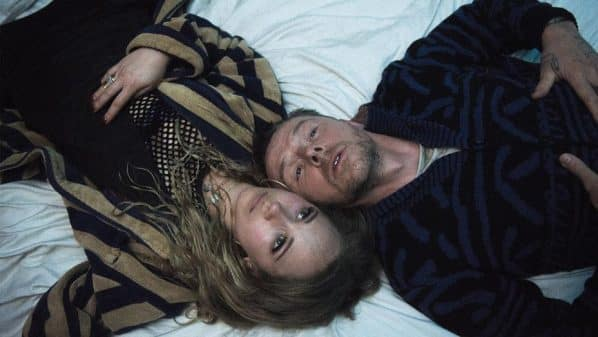 Hannah (Juno Temple) and Theo (Simon Pegg) after taking mushrooms.
