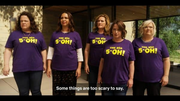 Jenny (Emily Spivey), Naomi (Maya Rudolph), Catherine (Ana Gasteyer), Rebecca (Rachel Dratch), and Val (Paula Pell) reacting to Abby walking away.