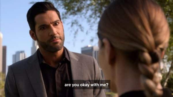 Lucifer questioning if Chloe is okay with her or not?