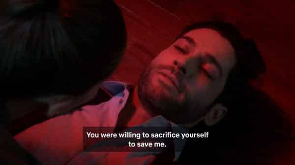 Lucifer realizing Chloe would sacrifice herself for him.