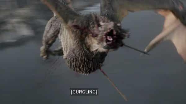 The death of Rhaegal the dragon.