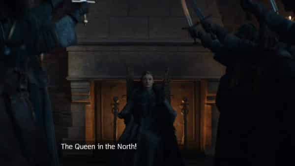 Sansa being crowned Queen of the North.