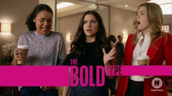 Title Card for The Bold Type featuring Jane dropping her coffee.