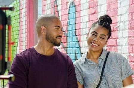 Alan (Brad James) and Tanya (Ashley A. Williams) on a date.