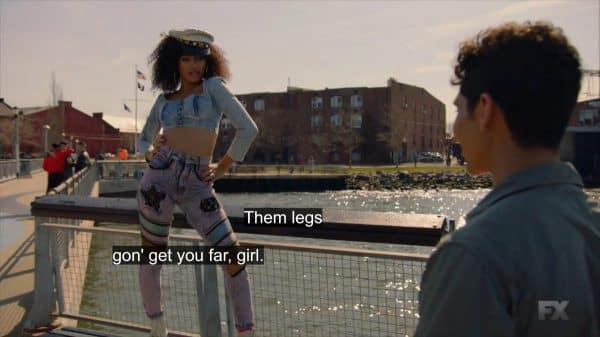 Lil Papi complimenting Angel's legs.