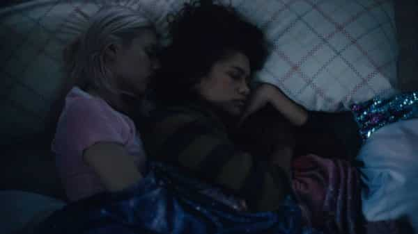 Jules and Rue cuddling.