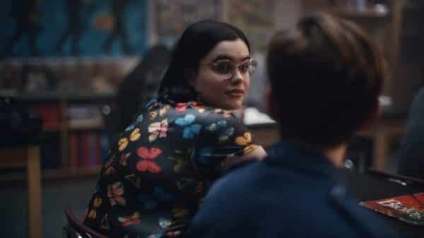 Kat (Barbie Ferreira) looking over her shoulder.