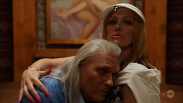 Mac (Michael Horse) and Melba (Rebecca Creskoff) embracing.