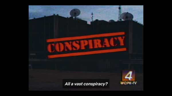 A Channel 4 News title card noting a possible government conspiracy in Hawkins.
