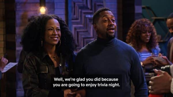 Eric (Jaleel White) and Katrina (Tempsett Bledsoe) thanking Cocoa and Moz for coming to trivia night.