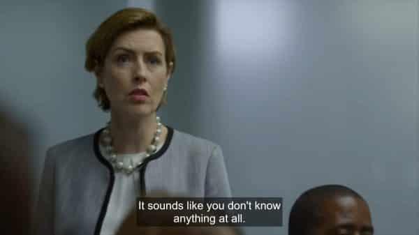 Jennifer (Gina McKee) chastising Linda and Conrad's leadership.
