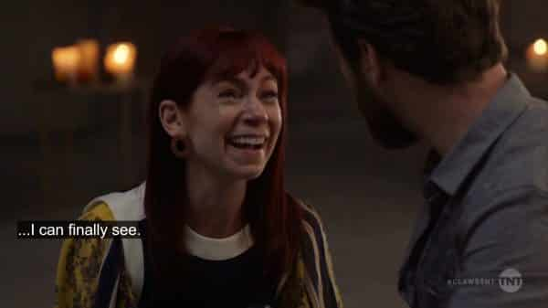 Polly (Carrie Preston) noting she can see clearly now the darkness is gone.