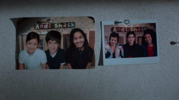 A picture of Andi, Cyrus, and Buffy in the 2nd grade compared to them at the end of 8th grade.
