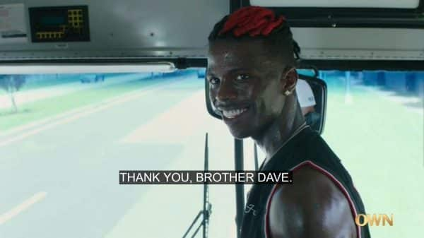 Raynan sarcastically thanking Dave for holding the bus for him.