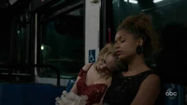 Morgan and Claire on the bus.