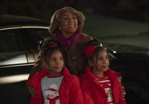 Aunt Jo (Darlene Love), Evie (Andrea-Marie Alphonse) and Gabby (Selena-Marie Alphonse) looking upwards.