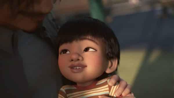 Toddler Alex (Luna Watson) smiling.