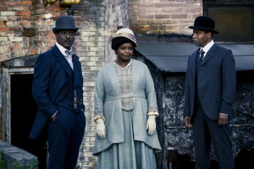 C.J. Walker (Blair Underwood) and Madam C.J. Walker (Octavia Spencer) outside