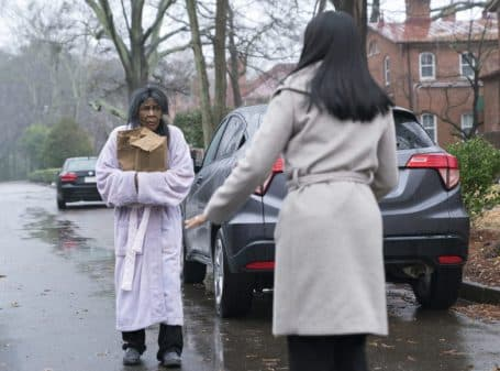 Cicely Tyson's character being approached by Bresha Webb's character