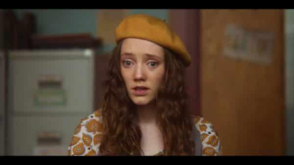 Florence (Mirren Mack) looking very worried.