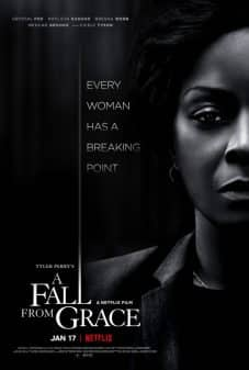Movie Poster - A Fall From Grace - Featuring the right side of Crystal Fox's face with a stern look.