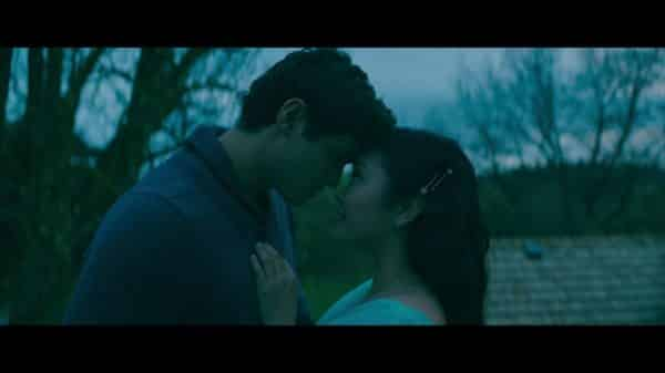 Lara Jean and Peter at the end of the film, before they kiss.