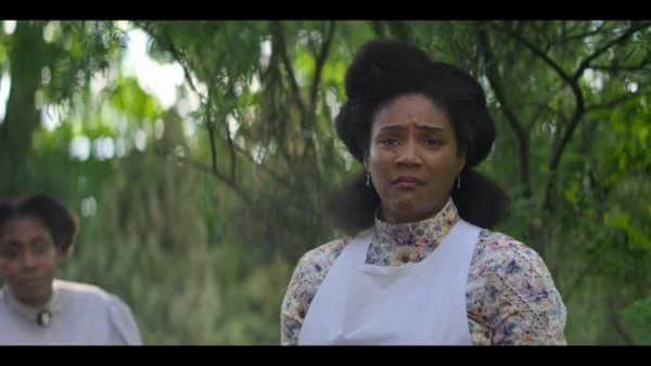 Lelia (Tiffany Haddish) looking worried, after the house burned down.