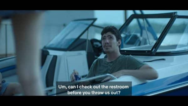Tommy (Tyler Chase) asking if he could use the bathroom.