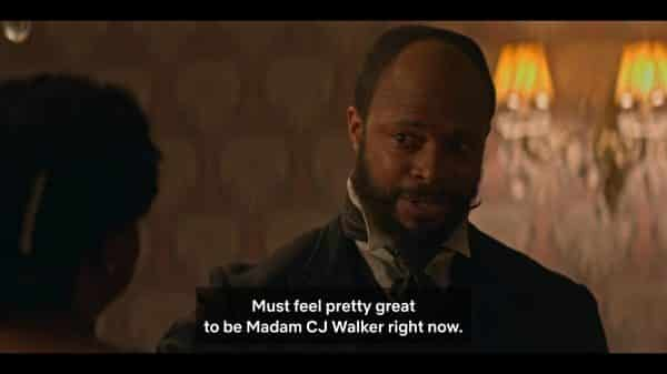 W.E.B. DuBois (Cornelius Smith Jr.) praising Madam CJ Walker.