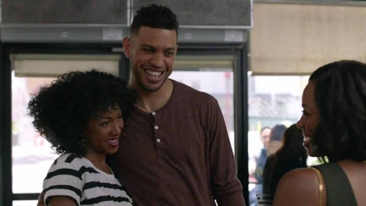Candice (Gabrielle Dennis) and Dro (Saruna J. Jackson) smiling together.